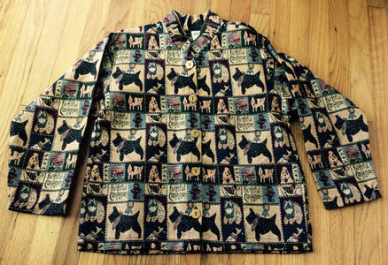 Ladies Tapestry Scottish Terrier Scottie Dog Jacket Coat