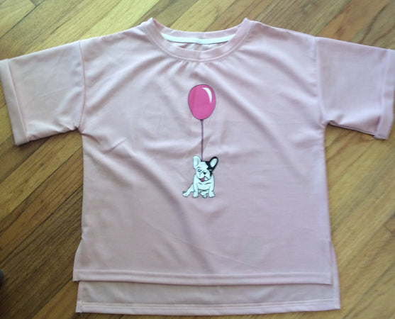 Ladies T-Shirt With French Bulldog Crop Top
