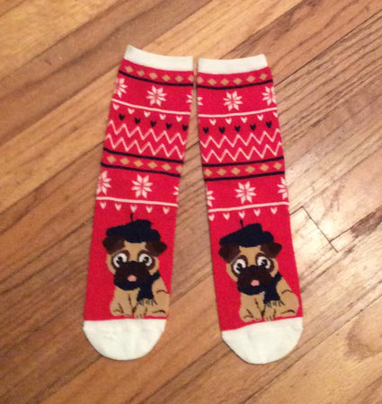 Ladies Red Winter Pug Dog Socks Sale