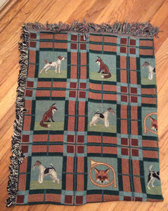 Jack Russell, Parsons, Wire Fox and Smooth Fox Terrier Dog and Fox  Blanket Throw