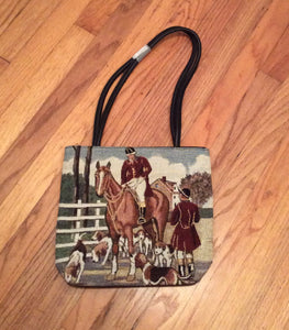 Ladies Tapestry Fox Hunt Horse and Hound Purse
