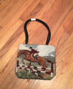 Ladies Tapestry Hunter Jumper Steeplechase Horse Purse