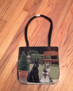Ladies Tapestry Standard Miniature Schnauzer Terrier Dog Purse Handbag