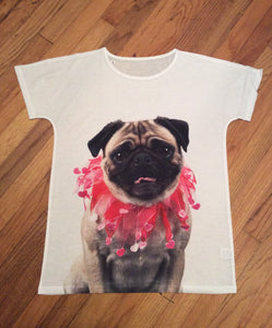 Cute Pretty in Pink Pug Dog Ladies Shirt