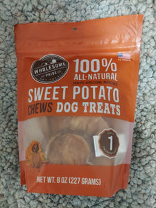 Wholesome Pride 100% Natural Sweet Potato Dog Treat Chews USA Made 1 Ingredient