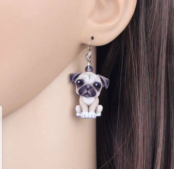 Pug Dog Lightweight Earrings Jewelry Design 2