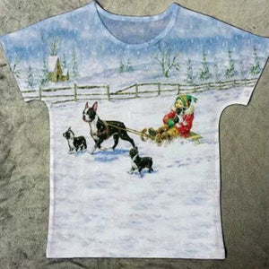 Snow Winter Sled Riding Boston Terrier Dog T-shirt. So cute!