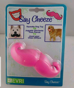 Say Cheese Cheeze Pink Moustache Dog Squeaker Toy