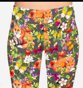 Floral Red Fox Wildlife Ladies Leggings Perfect For Agility