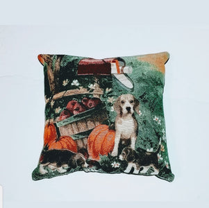 Fall Pumpkins and Beagle Dog with puppies Pillow