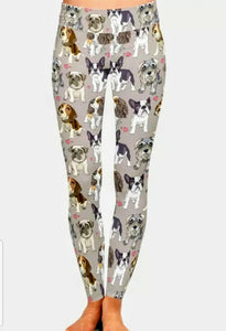 Multi Dog Breed Ladies Leggings Boston Terrier Beagle, Cavalier King Charles Spaniel, Schnauzer Dog