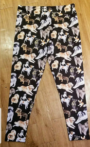 Multi Dog Breed Ladies Leggings Black Jack Russell Terrier, Golden Retriever, Pug, Doxie