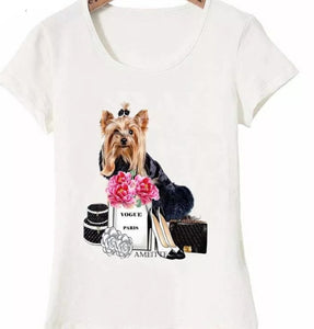 Yorkshire Terrier Dog Vogue Ladies T-Shirt Elegant