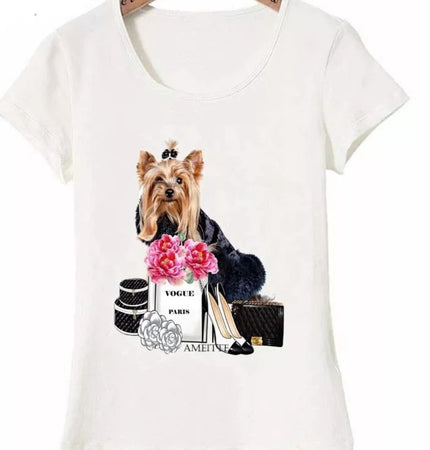 Yorkshire Terrier Dog Vogue LadiesT-Shirt Elegant