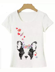 Boston Terrier French Bulldog Dog with Flowers Ladies T-Shirt
