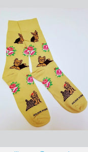 Yorkshire Terrier Yorkie Dog Socks with Roses