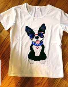 All American Boston Terrier Dog with Cool Shades Ladies T-Shirt