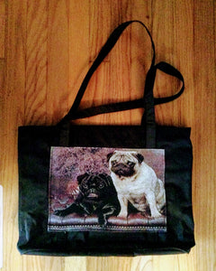 Waterproof Large Tote Pug Dog Purse