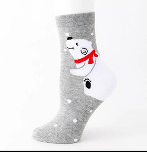 Winter Polar Bear Cub Ladies Socks