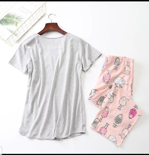 Lazy Sheep Ladies PJ pajamas lounger 2 piece set