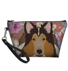 Ladies Collie Shetland Sheepdog Sheltie Makeup Grooming Bag Clutch Purse