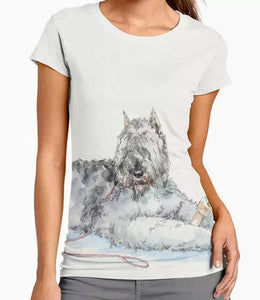 New Bouiver des Flandres Watercolor Dog Ladies t-shirt blouse