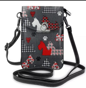 Black, White and Gray Scottish Terrier Scottie Dog Ladies Crossbody Purse