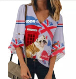 London is Calling English BullDog Ladies Chiffon Blouse