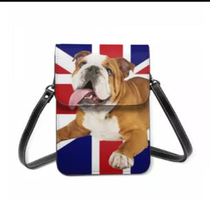 Ultimate English BullDog and Union Jack Ladies Crossbody Purse Handbag
