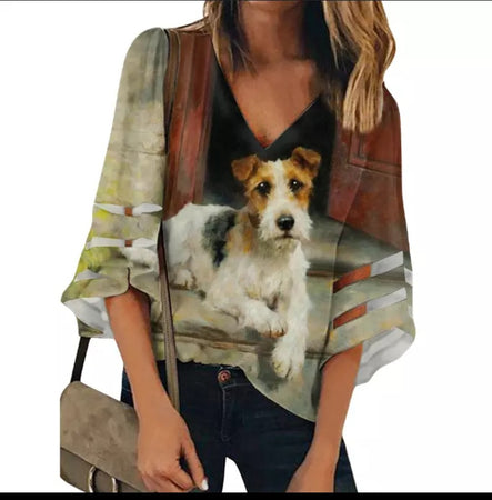 Wire Fox Terrier Dog Ladies Chiffon Blouse