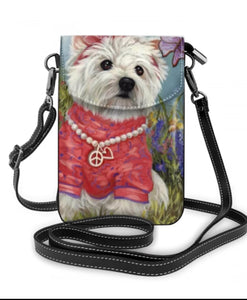 Peace and Love  West Highland White Terrier Westie Dog Ladies Crossbody Purse