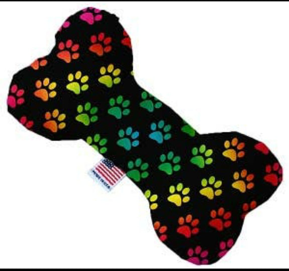 Rainbow hearts, or paw prints or Love is Love Plush Dog Toy Bone Made in the USA