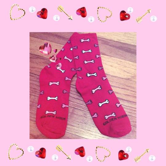Valentine's Day Ladies Holiday Dog Bone Socks