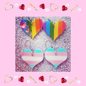 Rainbow Support LGBTQ Love Heart Lightweight Earrings Jewelry