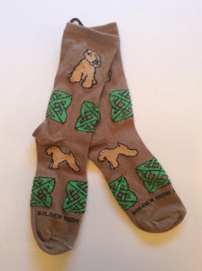 Soft Coated Wheaten Terrier Dog With Celtic Knot Socks