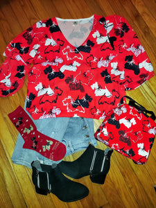 Scottish Terrier Scottie Dog Ladies Chiffon Blouse