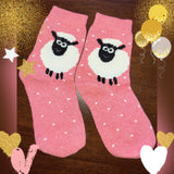 Fluffy Sheep Lamb Ewe Herding Ladies Pink Socks