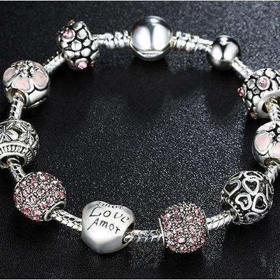 Bracelet Charms Love & Flower - She-K.com