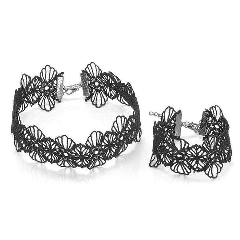 Set Choker Black Flower