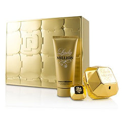 Paco Rabanne Lady Million Coffret: Eau De Parfum Spray 80ml/2.7oz + Eau De Parfum Splash 5ml/0.17oz + Sensual Body Lotion 100ml/3.4oz 3pcs