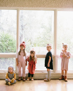Rose and doll's fall collection including grow with me jumpers and tunic dresses made from sustainable bamboo