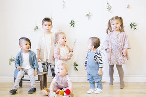 Rose and Doll's winter collection featuring organic, eco friendly grow with me jumpers and kimonos. Handmade in Canada made with sustainable kids and adult fashion