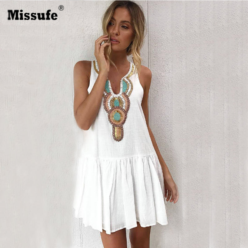 435b7d2261 Missufe Floral Print Vintage Summer Dress Women Casual V Neck Streetwear  Back Button Boho Tunic Pleated ...