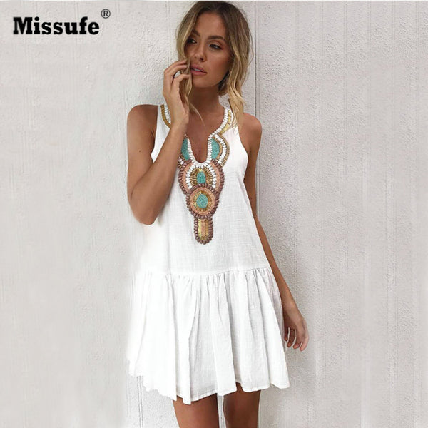 9c715c4ab44d Missufe Floral Print Vintage Summer Dress Women Casual V Neck Streetwear  Back Button Boho Tunic Pleated