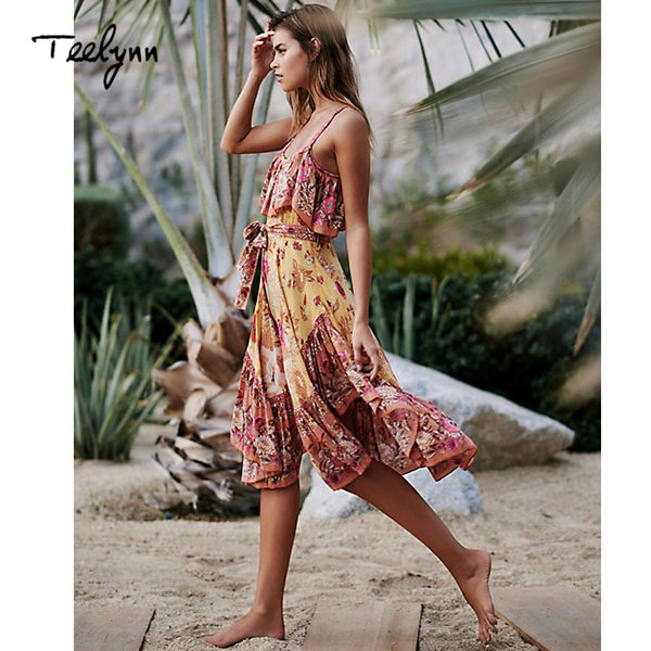 ff7d16707ab2 TEELYNN boho mini dress 2018 Gold floral print sexy strap summer dress  vintage ruffles Irregular hem