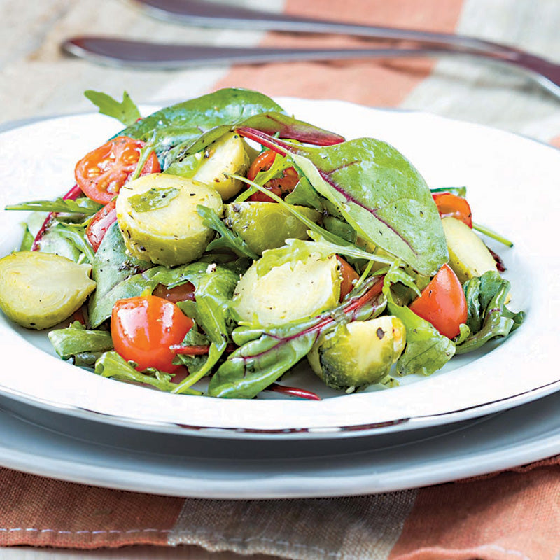 Lemon Arugula Salad With Roasted Brussel Sprouts & Roasted Tomato Bruchetta