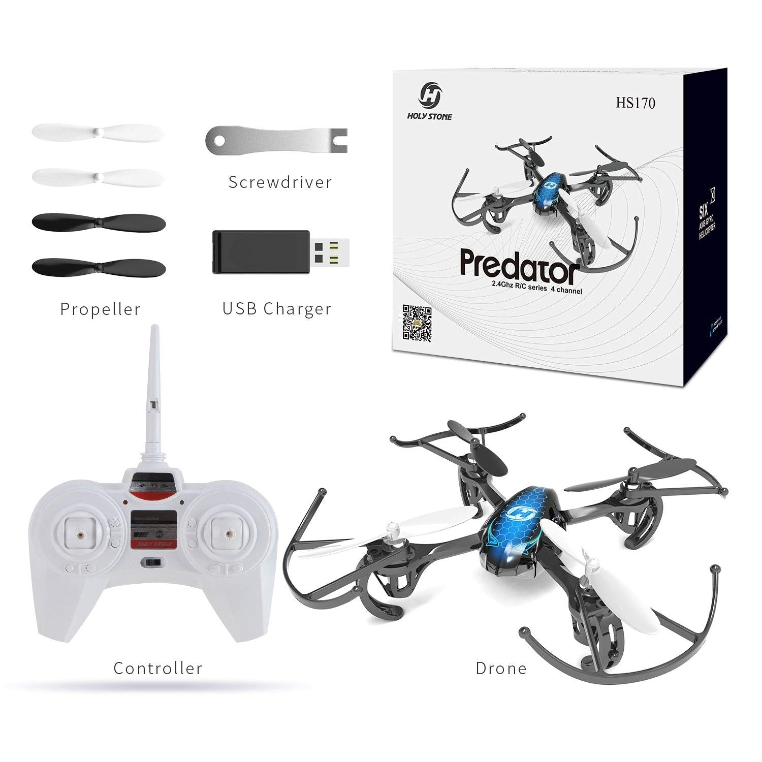 Holy Stone HS170 Predator Mini RC Helicopter Drone 2 4Ghz 6-Axis