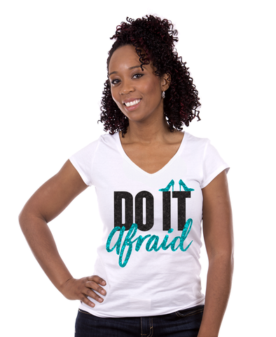 "Whose Shoes ""Do It AFRAID"" Short-Sleeve Glitter T-Shirt"