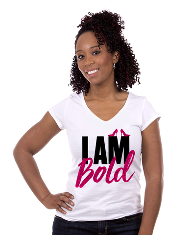"Whose Shoes ""I AM BOLD"" Short-Sleeve Glitter T-Shirt"