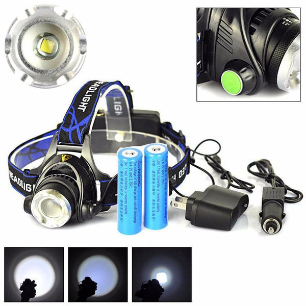 5000 Lumen XM-L T6 LED Zoomable Headlamp Torch  with 2 X 18650 Rechargeable Batteries + Car Charger